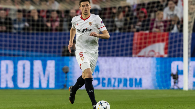 SEVILLE, SPAIN - APRIL 03: Clement Lenglet of Sevilla controls the ball during the UEFA Champions League Quarter-Final first leg match between Sevilla FC and Bayern Muenchen at Estadio Ramon Sanchez Pizjuan on April 3, 2018 in Seville, Spain. (Photo by TF-Images/TF-Images via Getty Images)