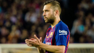 BARCELONA, SPAIN - MAY 20: Jordi Alba of FC Barcelona gestures during the La Liga match between Barcelona and Real Sociedad at Camp Nou on May 20, 2018 in Barcelona, . (Photo by Power Sport Images/Getty Images)