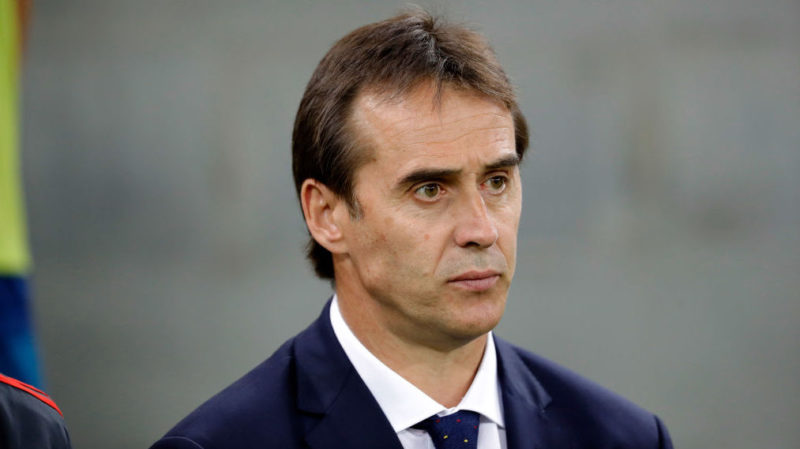 KRASNODAR, RUSSIA - JUNE 09: Head coach Julen Lopetegui of Spain looks on prior to the friendly match between Spain and Tunisia at Krasnodar's stadium on June 9, 2018 in Krasnodar, Russia. (Photo by TF-Images/Getty Images)