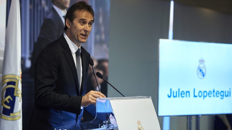 MADRID, SPAIN - JUNE 14:  Julen Lopetegui gives a speech to the media after being announced as new Real Madrid head coach at Santiago Bernabeu Stadium on June 14, 2018 in Madrid, Spain.  (Photo by Quality Sport Images/Getty Images)