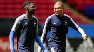 KAZAN, RUSSIA - JUNE 15, 2018: Ousmane Dembele (L) and Kylian Mbappe of the French men's national football team during a training session ahead of the 2018 FIFA World Cup Group Stage match against Australia at Kazan Arena Stadium. Sergei Bobylev/TASS (Photo by Sergei BobylevTASS via Getty Images)