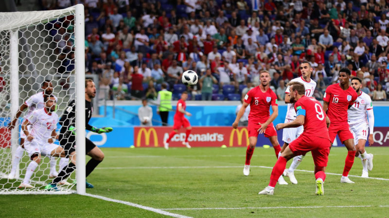 VOLGOGRAD, RUSSIA - JUNE 18:  Harry Kane of England scores his sides second goal during the 2018 FIFA World Cup Russia group G match between Tunisia and England at Volgograd Arena on June 18, 2018 in Volgograd, Russia.  (Photo by Chris Brunskill/Fantasista/Getty Images)