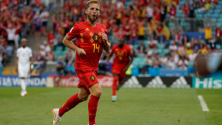 SOCHI, RUSSIA - JUNE 18:  Dries Mertens of Belgium celebrates scoring a goal to make it 1-0 during the 2018 FIFA World Cup Russia group G match between Belgium and Panama at Fisht Stadium on June 18, 2018 in Sochi, Russia.  (Photo by Fred Lee/Getty Images)