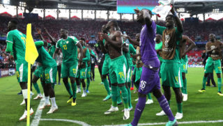 MOSCOW, RUSSIA - JUNE 19:  Senegal players acknowledge the fans during the 2018 FIFA World Cup Russia group H match between Poland and Senegal at Spartak Stadium on June 19, 2018 in Moscow, Russia.  (Photo by Kevin C. Cox/Getty Images)