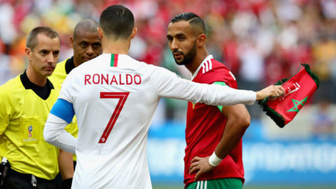 MOSCOW, RUSSIA - JUNE 20: Cristiano Ronaldo of Portugal talks with Referee Mark Geiger and Mehdi Benatia of Morocco before the 2018 FIFA World Cup Russia group B match between Portugal and Morocco at Luzhniki Stadium on June 20, 2018 in Moscow, Russia.  (Photo by Chris Brunskill/Fantasista/Getty Images)