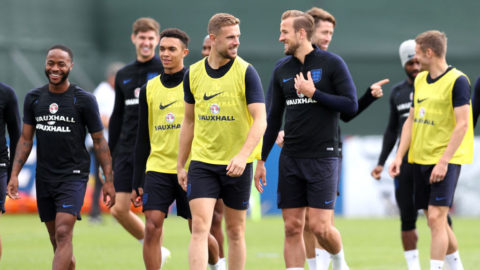 SAINT PETERSBURG, RUSSIA - JUNE 21:  Jordan Henderson jokes with Harry Kane during the England training session on June 21, 2018 in Saint Petersburg, Russia.  (Photo by Alex Morton/Getty Images)