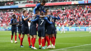 YEKATERINBURG, RUSSIA - JUNE 21: France celebrate after Kylian Mbappe of France scores his sides first goal during the 2018 FIFA World Cup Russia group C match between France and Peru at Ekaterinburg Arena on June 21, 2018 in Yekaterinburg, Russia. (Photo by Catherine Ivill/Getty Images)