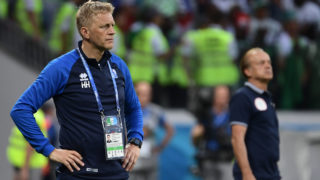 Iceland's coach Heimir Hallgrimsson stands on the sideline during the Russia 2018 World Cup Group D football match between Nigeria and Iceland at the Volgograd Arena in Volgograd on June 22, 2018. / AFP PHOTO / NICOLAS ASFOURI / RESTRICTED TO EDITORIAL USE - NO MOBILE PUSH ALERTS/DOWNLOADS