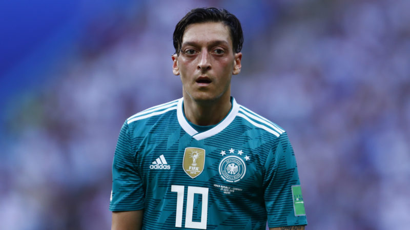 Germany's midfielder Mesut Ozil looks on during the Russia 2018 World Cup Group F football match between South Korea and Germany at the Kazan Arena in Kazan on June 27, 2018. / AFP PHOTO / BENJAMIN CREMEL / RESTRICTED TO EDITORIAL USE - NO MOBILE PUSH ALERTS/DOWNLOADS