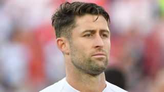 England's defender Gary Cahill lines up before the Russia 2018 World Cup Group G football match between England and Belgium at the Kaliningrad Stadium in Kaliningrad on June 28, 2018. / AFP PHOTO / Patrick HERTZOG / RESTRICTED TO EDITORIAL USE - NO MOBILE PUSH ALERTS/DOWNLOADS