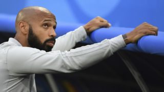 Belgium's French assistant coach Thierry Henry looks on before the Russia 2018 World Cup semi-final football match between France and Belgium at the Saint Petersburg Stadium in Saint Petersburg on July 10, 2018. / AFP PHOTO / Paul ELLIS / RESTRICTED TO EDITORIAL USE - NO MOBILE PUSH ALERTS/DOWNLOADS