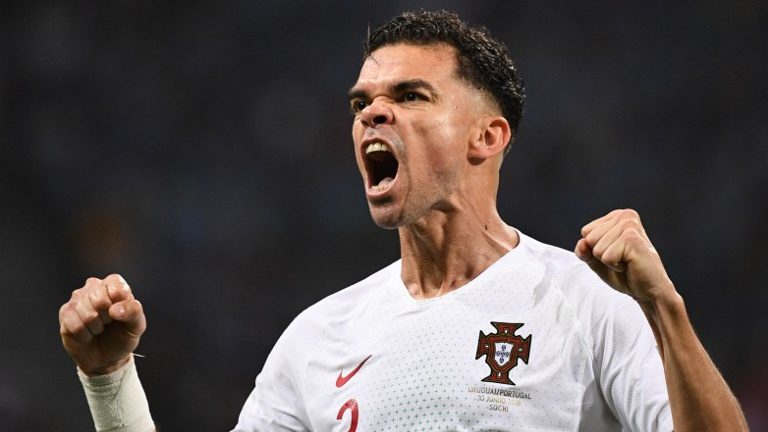 5569237 30.06.2018 Portugal's Pepe celebrates his goal during the World Cup Round of 16 soccer match between Uruguay and Portugal at the Fisht stadium in Sochi, Russia, June 30, 2018. Alexey Filippov / Sputnik