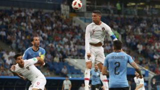 Portugal's Cristiano RONALDO (C) heads a ball in the second half during the match of the Round of 16 in FIFA World Cup Russia at Fisht Stadium in Sochi, Russia on June 30, 2018.( The Yomiuri Shimbun )