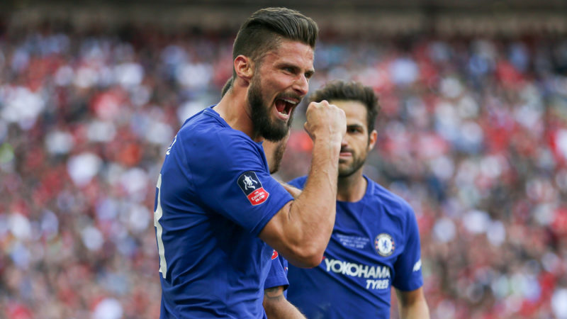Chelsea Oliver Giroud celebrates during the English cup, FA Cup Final football match between Chelsea and Manchester United on May 19, 2018 at Wembley Stadium in London, England - Photo Phil Duncan / ProSportsImages / DPPI