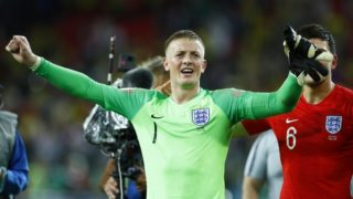 Round of 16 England v Colombia - FIFA World Cup Russia 2018 Jordan Pickford (England) celebrates at Spartak Stadium in Moscow, Russia on July 3, 2018.  (Photo by Matteo Ciambelli/NurPhoto)