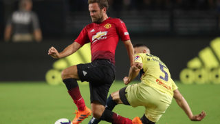 GLENDALE, AZ - JULY 19:  Juan Mata #8 of Manchester United and Guido Rodriguez #5 of Club America in action during the International Champions Cup game at the University of Phoenix Stadium on July 19, 2018 in Glendale, Arizona.  (Photo by Christian Petersen/Getty Images for International Champions Cup)