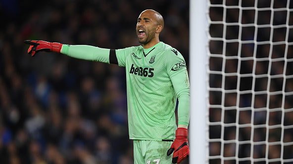 BRIGHTON, ENGLAND - NOVEMBER 20:  Lee Grant of Stoke in action during the Premier League match between Brighton and Hove Albion and Stoke City at Amex Stadium on November 20, 2017 in Brighton, England.  (Photo by Mike Hewitt/Getty Images)