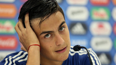 BRONNITSY, RUSSIA - JUNE 19: Paulo Dybala of Argentina gestures during a press conference at Stadium of Syroyezhkin sports school  on June 19, 2018 in Bronnitsy, Russia. (Photo by Gabriel Rossi/Getty Images)