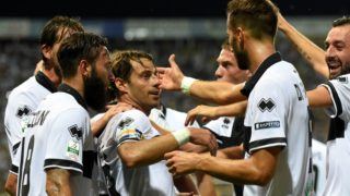 PARMA, ITALY - AUGUST 25:  Emanuele Calaio #9 of Parma Calcio  celebrates after scoring the opening goal during the Serie B match between Parma Calcio and US Cremonese on August 25, 2017 in Parma, Italy.  (Photo by Getty Images/Getty Images)