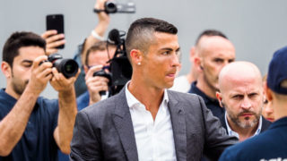Cristiano Ronaldo arrives at Juventus medical center in Turin, Italy, on July 16, 2018. (Photo by Mauro Ujetto/NurPhoto via Getty Images)