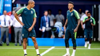 SAMARA, RUSSIA - JULY 1, 2018: Brazil's Miranda (L) and Neymar during a training session ahead of the 2018 FIFA World Cup football match against Mexico, at Samara Arena Stadium. Sergei Bobylev/TASS (Photo by Sergei BobylevTASS via Getty Images)
