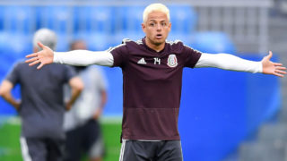 SAMARA, RUSSIA - JULY 01: Javier Hernandez of Mexico, reacts during a training at Samara Arena ahead of the Round of Sixteen match against Brazil on July 1, 2018 in Samara, Russia. (Photo by Hector Vivas/Getty Images)