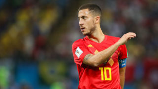 KAZAN, RUSSIA - JULY 06:    Eden Hazard of Belgium in action during the 2018 FIFA World Cup Russia Quarter Final match between Brazil and Belgium at Kazan Arena on July 6, 2018 in Kazan, Russia. (Photo by Matthew Ashton - AMA/Getty Images)