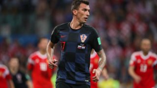 SOCHI, RUSSIA - JULY 07:   Mario Mandzukic of Croatia in action during the 2018 FIFA World Cup Russia Quarter Final match between Russia and Croatia at Fisht Stadium on July 7, 2018 in Sochi, Russia. (Photo by Matthew Ashton - AMA/Getty Images)