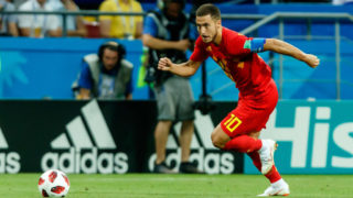 KAZAN, RUSSIA - JULY 06: Eden Hazard of Belgium controls the ball during the 2018 FIFA World Cup Russia Quarter Final match between Brazil and Belgium at Kazan Arena on July 6, 2018 in Kazan, Russia. (Photo by TF-Images/Getty Images)
