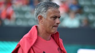 Manchester United's coach Jose Mourinho walks on the pitch before the start of the International Champions Cup match between Manchester United and AC Milan at the StubHub Center in Carson, California, on July 25, 2018. / AFP PHOTO / Robyn Beck