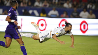 CARSON, CA - JULY 29: Zlatan Ibrahimovic #9 of the Los Angeles Galaxy heads the ball into the goal at StubHub Center on July 29, 2018 in Carson, California.   Katharine Lotze/Getty Images/AFP