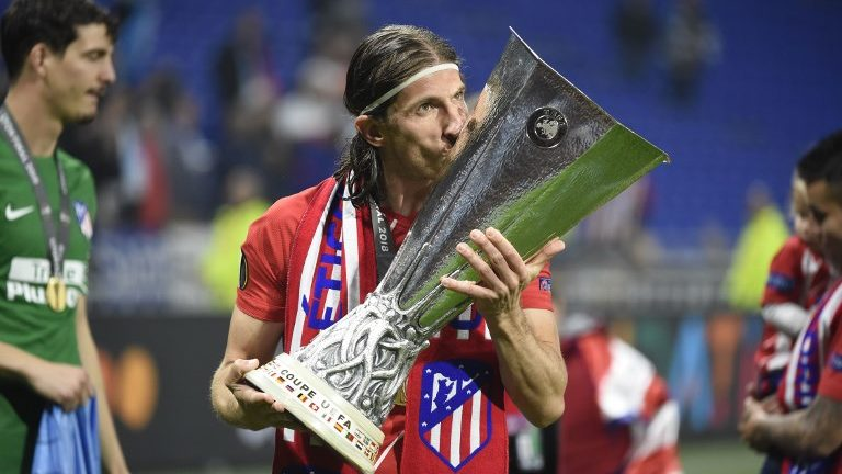 Filipe Luis of Atletico de Madrid celebrate with the trophy after the UEFA Europa League, Final football match between Olympique de Marseille and Atletico de Madrid on May 16, 2018 at Groupama Stadium in Decines-Charpieu near Lyon, France - Photo Jean-Marie Hervio / DPPI