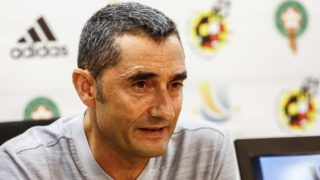 The coach of FC Barcelona Ernesto Valverde during the FC Barcelona press conference before the Spanish Supercopa game against Sevilla FC in Tanger. At Ciutat Esportiva Joan Gamper, Barcelona on 11 of August of 2018. (Photo by Xavier Bonilla/NurPhoto)