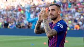 Barcelona's Paco Alcácer presented prior the Joan Gamper trophy match between FC Barcelona and Boca Juniors at Camp Nou Stadium in Barcelona, Catalonia, Spain on August 15, 2018 (Photo by Miquel Llop/NurPhoto)