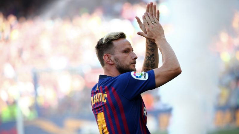 Ivan Rakitic during the presentation of the team 2018-19 before the match between FC Barcelona and C.A. Boca Juniors, corresponding to the Joan Gamper trophy, played at the Camp Nou, on 15th August, 2018, in Barcelona, Spain.    -- (Photo by Urbanandsport/NurPhoto)