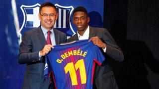 Josep Maria Bartomeu, president of FC Barcelona, during the presentation of Oumane Dembele as new player of FC Barcelona, in Barcelona, on August 28, 2017. (Photo by Urbanandsport/NurPhoto)