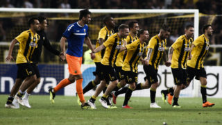 ATHENS, GREECE - AUGUST 14: Players of AEK Athens celebrate their win during the UEFA Champions League, Qualifying Third Round 2nd Leg match between AEK Athens and Celtic,  at  OAKA stadium, on August 14, 2018 in Athens, Greece. (Photo by MB Media/Getty Images)