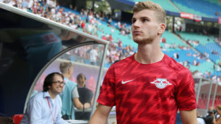LEIPZIG, SAXONY - AUGUST 09:  Timo Werner of Leipzig during the UEFA Europa League Third Qualifying Round: 1st leg between RB Leipzig and Universitatea Craiova at Red Bull Arena on August 09, 2018 in Leipzig, Germany.  (Photo by Karina Hessland/Bongarts/Getty Images)