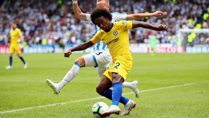 HUDDERSFIELD, ENGLAND - AUGUST 11:  Willian of Chelsea in action during the Premier League match between Huddersfield Town and Chelsea FC at John Smith's Stadium on August 11, 2018 in Huddersfield, United Kingdom.  (Photo by Chris Brunskill/Fantasista/Getty Images)
