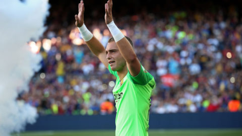 Jasper Cillessen during the presentation of the team 2018-19 before the match between FC Barcelona and C.A. Boca Juniors, corresponding to the Joan Gamper trophy, played at the Camp Nou, on 15th August, 2018, in Barcelona, Spain.   -- (Photo by Urbanandsport/NurPhoto via Getty Images)