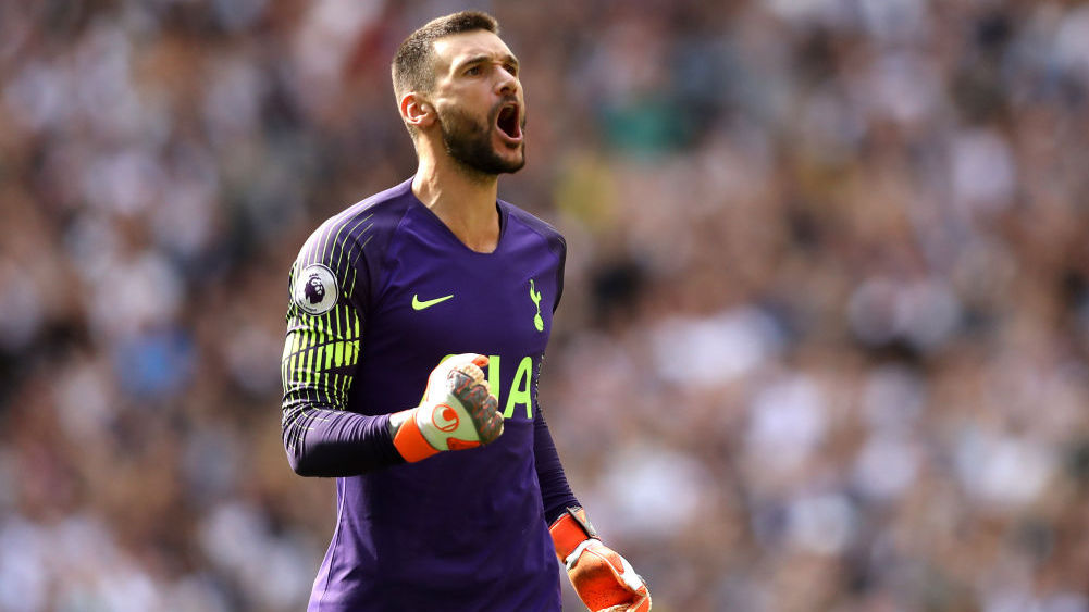LONDON, ENGLAND - AUGUST 18:  Hugo Lloris of Tottenham Hotspur celebrates his team's second goal during the Premier League match between Tottenham Hotspur and Fulham FC at Wembley Stadium on August 18, 2018 in London, United Kingdom.  (Photo by Dan Istitene/Getty Images)