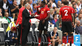 BRIGHTON, ENGLAND - AUGUST 19:  Jose Mourinho, Manager of Manchester United speaks with Paul Pogba of Manchester United during the Premier League match between Brighton & Hove Albion and Manchester United at American Express Community Stadium on August 19, 2018 in Brighton, United Kingdom.  (Photo by Dan Istitene/Getty Images)