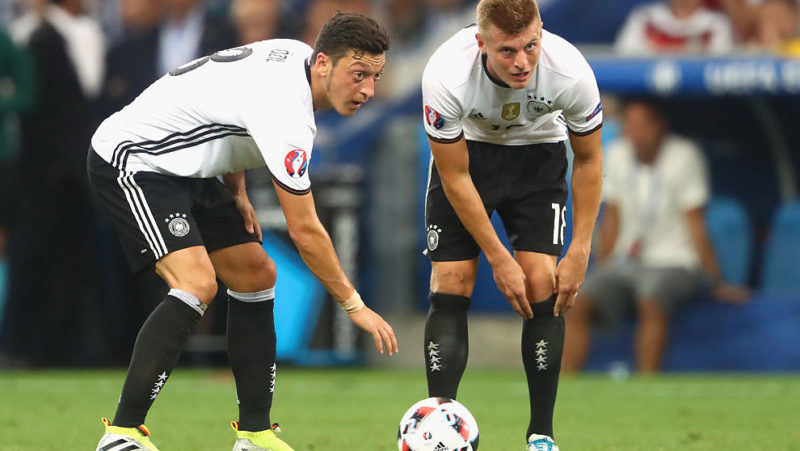 during the UEFA EURO 2016 semi final match between Germany and France at Stade Velodrome on July 7, 2016 in Marseille, France.