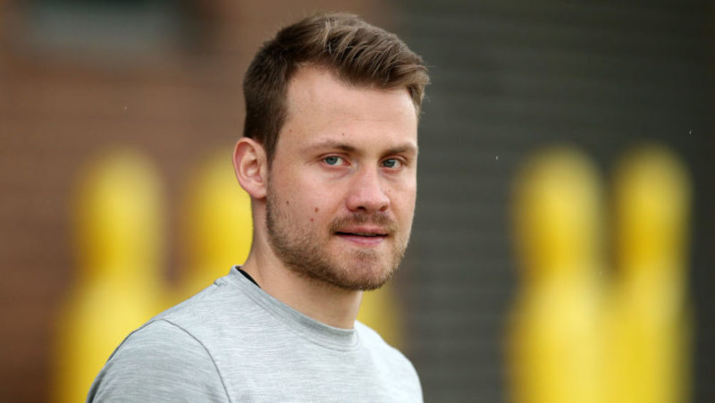 LIVERPOOL, ENGLAND - APRIL 09:  Simon Mignolet of Liverpool looks on during a training session on April 9, 2018 in Liverpool, England.  (Photo by Jan Kruger/Getty Images)
