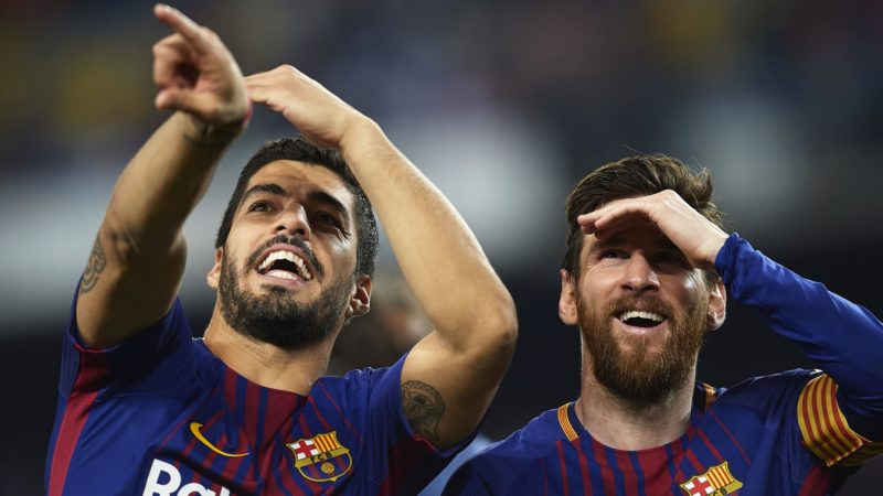 BARCELONA, SPAIN - MAY 06:  Luis Suarez and Lionel Messi of Barcelona reacts after the La Liga match between Barcelona and Real Madrid at Camp Nou on May 6, 2018 in Barcelona, Spain.  (Photo by Quality Sport Images/Getty Images)