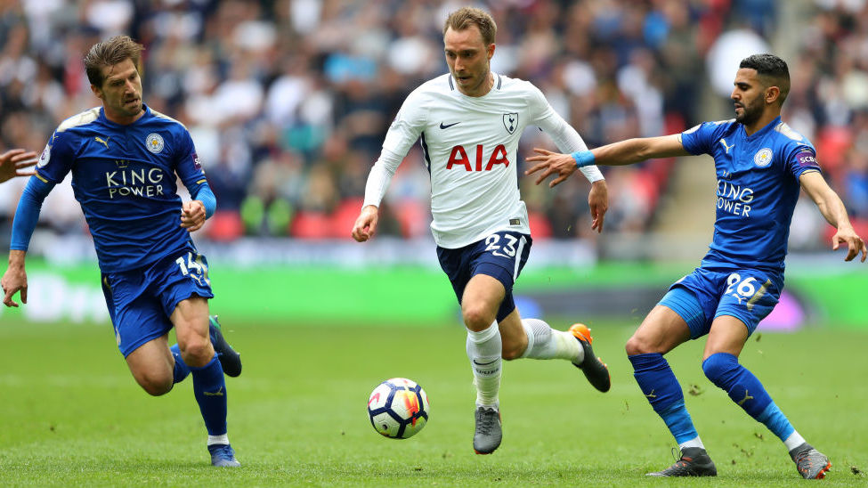 during the Premier League match between Tottenham Hotspur and Leicester City at Wembley Stadium on May 13, 2018 in London, England.