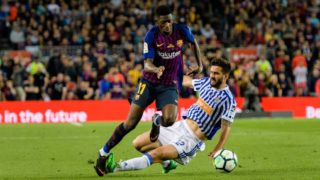 BARCELONA, SPAIN - MAY 20: Ousmane Dembele of FC Barcelona (L) in action against Raul Rodriguez Navas of Real Sociedad (R) during the La Liga match between Barcelona and Real Sociedad at Camp Nou on May 20, 2018 in Barcelona, . (Photo by Power Sport Images/Getty Images)