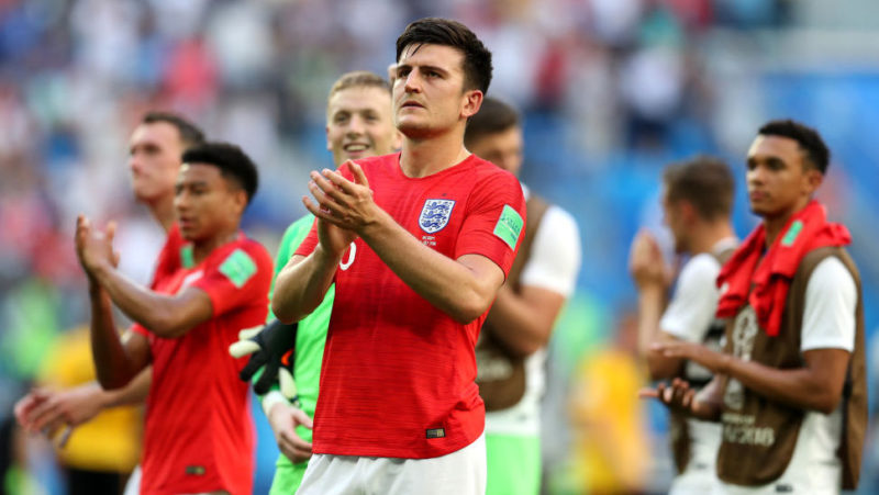 SAINT PETERSBURG, RUSSIA - JULY 14:  Harry Maguire of England acknowledges the fans following his team's defeat in the 2018 FIFA World Cup Russia 3rd Place Playoff match between Belgium and England at Saint Petersburg Stadium on July 14, 2018 in Saint Petersburg, Russia.  (Photo by Catherine Ivill/Getty Images)