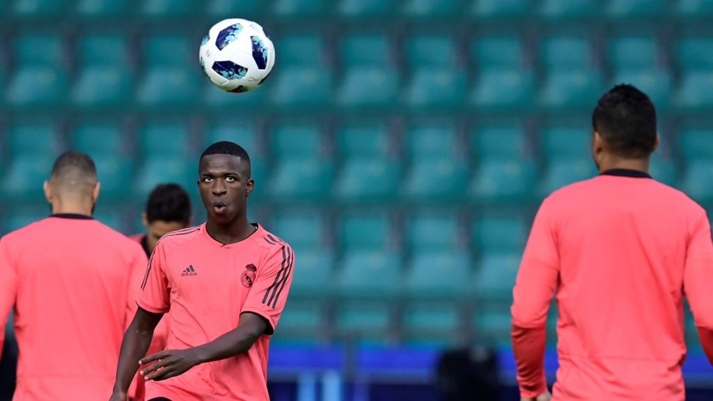 Real Madrid's Brazilian forward Vinicius Junior takes part in a trainig session at Lillekula stadium in Tallinn on August 14, 2018, on the eve of the UEFA Super Cup football match Atletico de Madrid vs Real Madrid CF.  / AFP PHOTO / JAVIER SORIANO