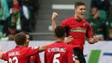 firo: 22.09.2018 Football, 1. Bundesliga, season 2018/2019 VFL Wolfsburg - SC Freiburg Freiburg, jubilation, goaljubel after goal 0-1, by Roland Sallai | usage worldwide